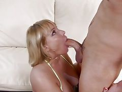 Blonde busty MILF gets fucked