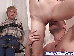Petite babe cuckolds her restrained bf