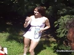 Outdoor threesome see guy deliver two cumshots