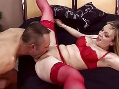 Blonde MILF Fucks in Red Stockings