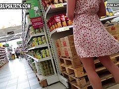Girl in red panties upskirt