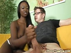 Bigtitted ebony babe jerking pov guy