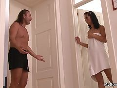 His brunette gf spreads legs for older man