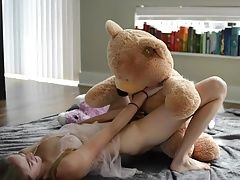 Teen Blonde Fucks A Teddy Bear