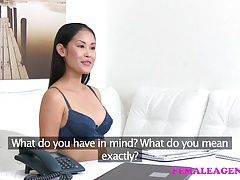 Female Agent Sexy asian model licks and tastes her first pus