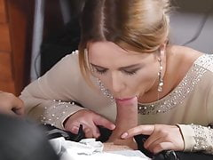 Busty office colleague Nikky Dream gives stud blowjob at wor