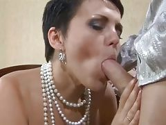 Unwanted sperm in russian milfs mouth