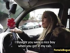 Femdom cabbie punishes client in her cab