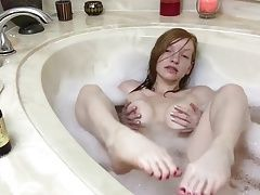 Redhead Bath time Soles and Dildo Footjob