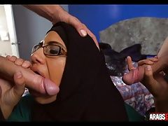 Arab in glasses gets two white dicks
