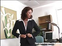 Boss lady evaluates her workers cock at the office