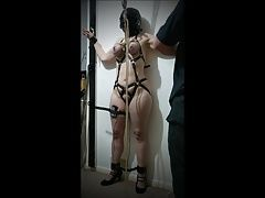 Slave hanged from her tits