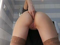 Little Anal fisting in public toilet