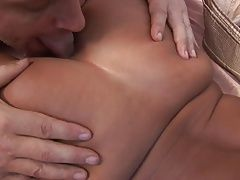 Brunette parts her ass cheeks and welcomes in a big cock