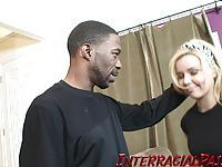 Emma gets naughty with a black cock in her mouth!!