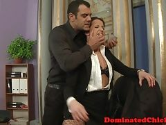 Smalltits babe dominated in the office