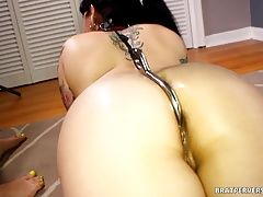 Lesbians BDSM  fun with Anal Hook