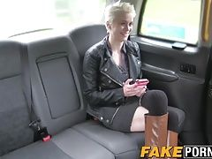 Big tits blonde Mila riding the cab drivers big fat dick