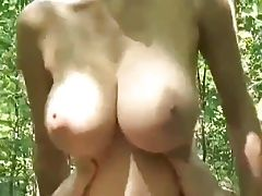 European woman gets fucked in forest