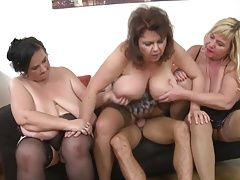 Three mamas wanna party with big hunk son
