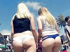 IRRESISTABLE BLONDE BUTTS WALKING IN THONGS