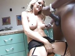 Tall Blonde MILF Interracial Fucked