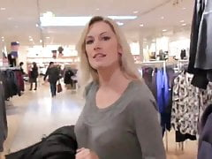 two horny chicks using strapon in public changing room
