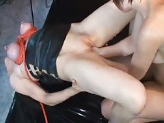 Slave girl with bound and pierced tits getting double fisted