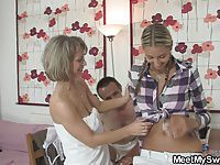Foursome with moms teaching teens sucking