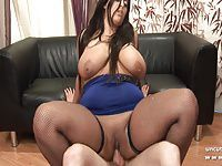 BBW french brunette banged and jizzed on her huge boobs