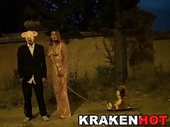 Krakenhot - Exclusive video with a hot redhead in public