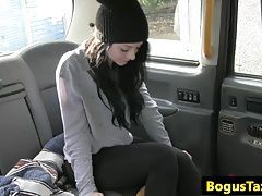 Closeup taxi fucking with a blackhaired babe
