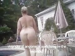 BBW Beth Walking Naked To The Pool