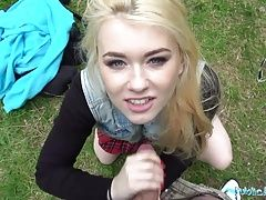 Public Agent Hot blonde student fucked doggy style in forest