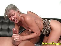 Tanlined smalltitted cougar jerking hard cock