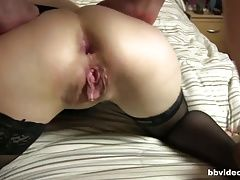 German milf in glasses taking two dicks