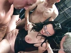 Regular guys group fucking the sex club sluts