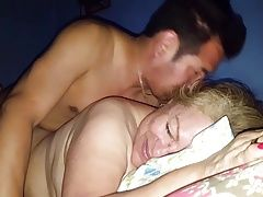 Horny young guy fucking a hot granny