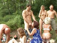 Naughty fun in forest
