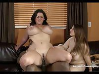 Big Titted Angelina Castro & Lexxxi take on MASSIVE cock!?
