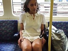 Daring Public Upskirt Flashing on a Train