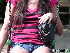 Hot brunette teen Kristina Miller gets fucked hard in public