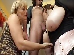 Massive mature jugs group sex