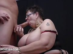 Granny makes his cock big and hard