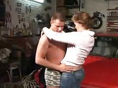 Marine German mature with Boy in the garage