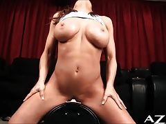 Sexy Model rides Sybian till she cums hard