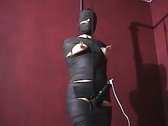Mummified whore gets nipple tortured and vibrator in cunt
