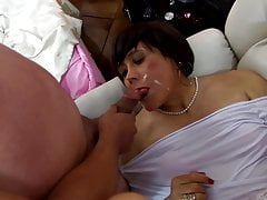 lady in white in anal gangbang whit two mistress
