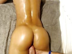 Young bitch with hot ass fucks on webcam