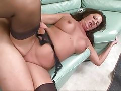 Mature brunette likes young meat in pussy
